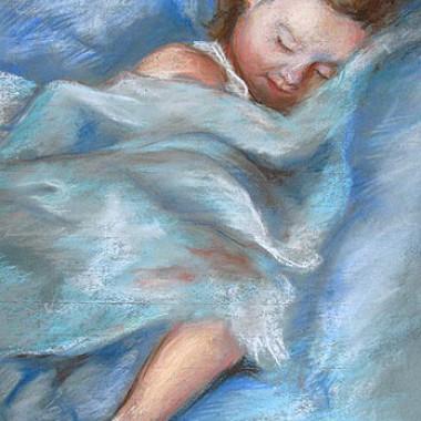-Schlaf Baby, schlaf--- ca. 50x75, Pastell