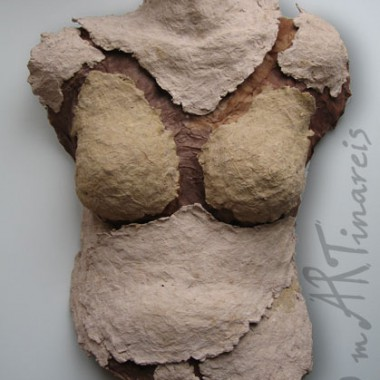 ´Fragment Eva´- Torso aus Pappmache auf der Basis von Körperabformung