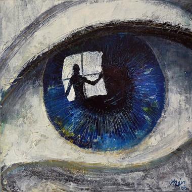 -Spiegel der Seele--- 40x40cm, Acrylmischtechnik
