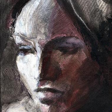 -Schwarze Gedanken--- 24x18x4 cm, Acrylmischtechnik
