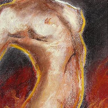 -Feuer und Flamme--- ca. 25x40cm, Pastell