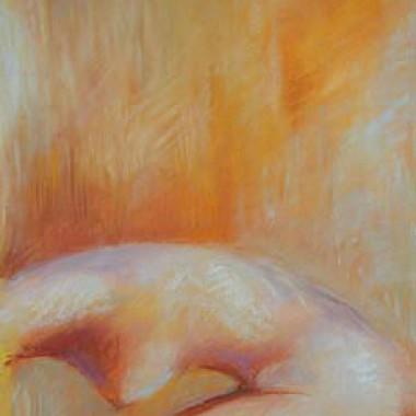 -Orangeakt--- ca. 40x60cm, Pastell, verkauft
