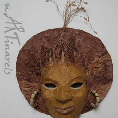 ´Afrika´- dekorative Wandmaske aus Pappmaché