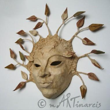 ´Baumgeist´- dekorative Wandmaske aus Pappmaché