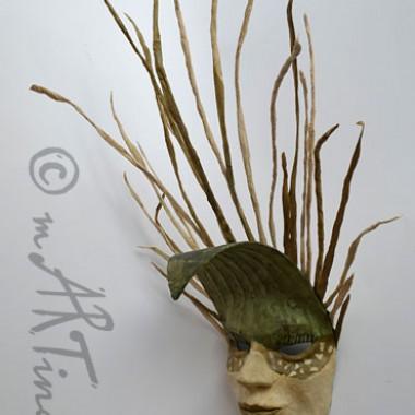 ´Graskönig´ dekorative Wandmaske aus Pappmaché