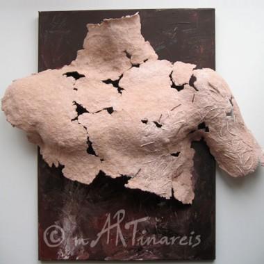 -Fragment ´Adam´- Pappmaché und Malerei auf Leinwand