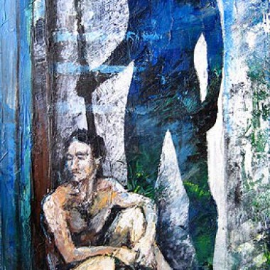 -Sein Gewissen--- 50x100 cm, Acrylmischtechnik