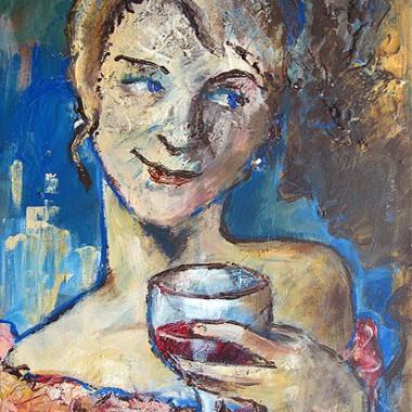 -Vino e amore- 30x40 cm, Acrylmischtechnik