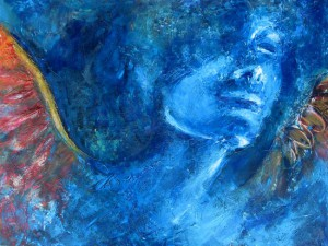 -Blauer Engel--- 80x40 cm, Acrylmischtechnik, verkauft