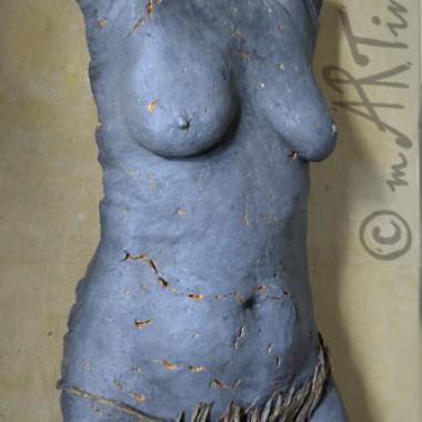 Torso 'Lava' mit abnehmbarem Papier-Bikini, Dekor: Anthrazit und Gold