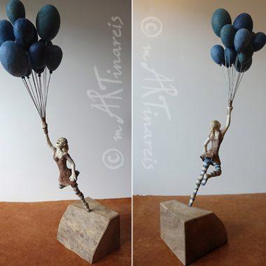 ´Frei sein´ - Pappmache Kunst - kleine Figur, ca. 60 cm hoch