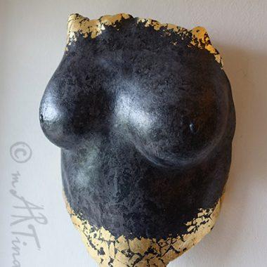 Torso - Brust - Abformung, Gips, bemalt und vergoldet