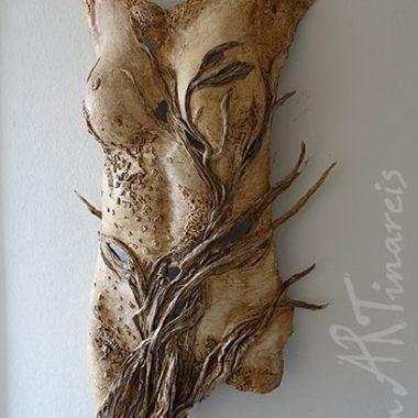 Papiertorso ´Flora´, Pappmaché und Naturpapiere