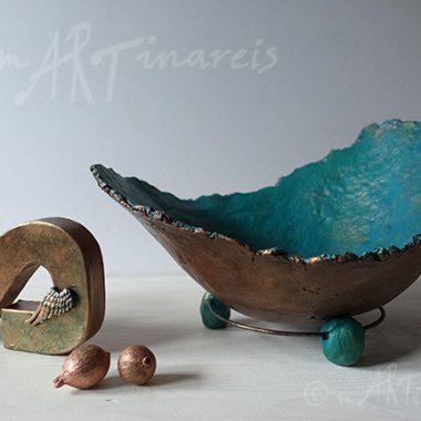 Belly Bowl - Babybauchschale in Kupfer und blaugrün painiert