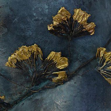 Blätter /blaue Patina