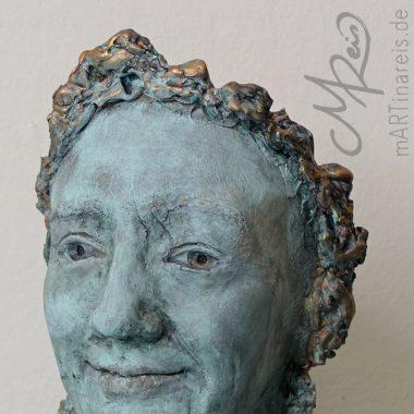 Körperskulptur ´Maria´- Gesicht in blau/gold Patina