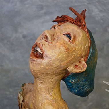 ´Sternegucker´ - Detail - Kopf aus Pappmaché