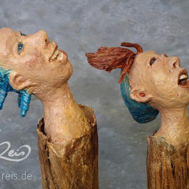 ´Die Sternegucker´- Pappmaché-Figuren