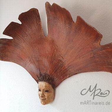 Gingko Maske - Pappmaché